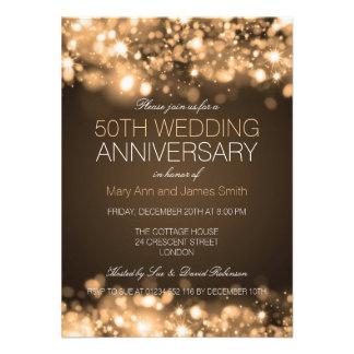 50th Luzes Sparkling do ouro do aniversário de Convites Personalizados