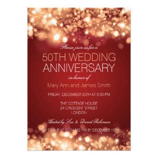 50th Luzes Sparkling do ouro do aniversário de Convites