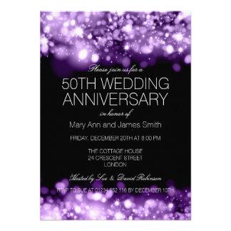 50th Luzes Sparkling roxas do aniversário de Convites