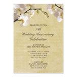 50th Orquídea do branco do vintage do aniversário Convite Personalizado