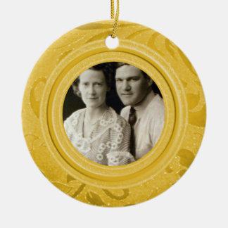 50th Ouro da foto | do aniversário de casamento Ornamento De Cerâmica
