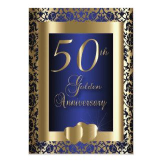 50th Ouro e texto azul do aniversário de casamento Convite 12.7 X 17.78cm