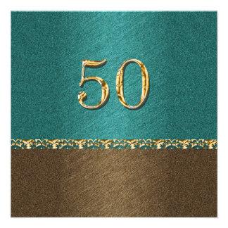 50th partido elegante do marrom azul convites personalizado