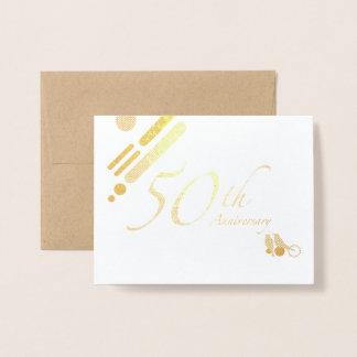 50th pássaros dourados felizes da modificação do cartão metalizado