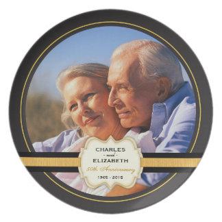 50th Placa comemorativa do aniversário de casament Pratos De Festas