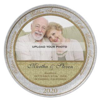 50th Placa da foto do aniversário de casamento Pratos