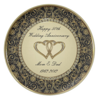 50th Placa da melamina do aniversário de casamento Louças De Jantar
