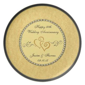 50th Placa decorativa do aniversário de casamento Louça De Jantar