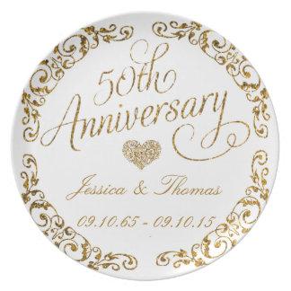 50th Placa decorativa do aniversário de casamento Prato De Festa