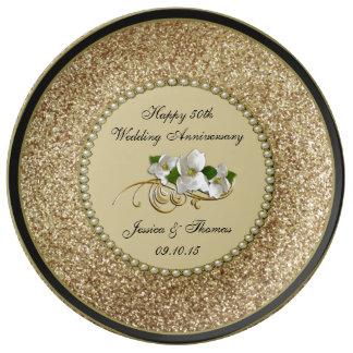 50th Placa decorativa do aniversário de casamento Prato De Porcelana