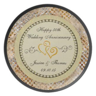 50th Placa decorativa do aniversário de casamento Pratos De Festas