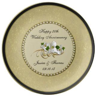 50th Placa decorativa do aniversário de casamento Pratos De Porcelana