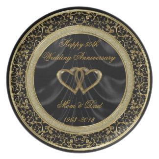 50th Placa do aniversário de casamento Louça De Jantar