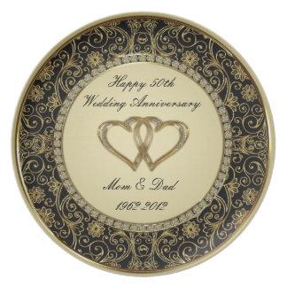 50th Placa do aniversário de casamento Louças De Jantar