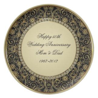 50th Placa do aniversário de casamento Prato