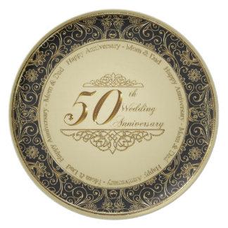 50th Placa do aniversário de casamento Prato De Festa