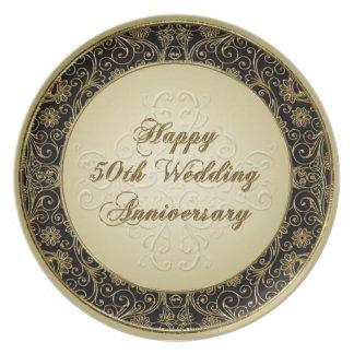 50th Placa do aniversário de casamento Pratos