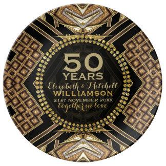 50th Preto da placa | do aniversário+ Art deco Pratos De Porcelana