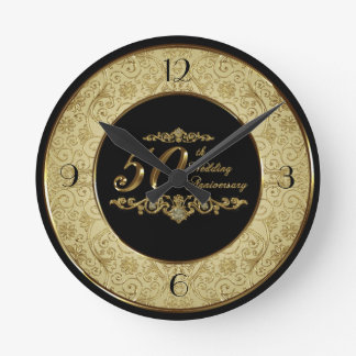 50th Pulso de disparo do aniversário de casamento Relógio Para Parede