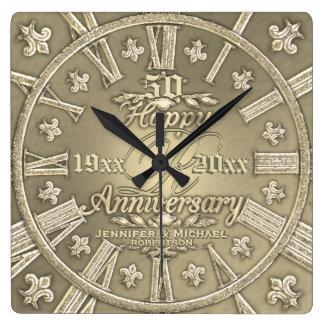 50th Quadrado do aniversário de casamento dourado Relógio Para Parede