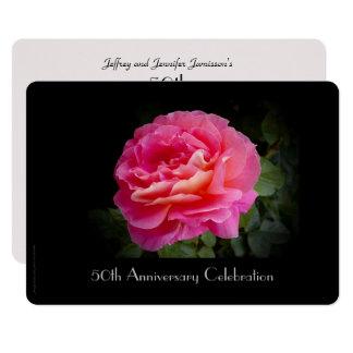 50th Rosa do rosa do convite da celebração do