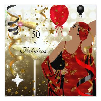 50th Senhora glamoroso Fabuloso de cinqüênta Convite Quadrado 13.35 X 13.35cm