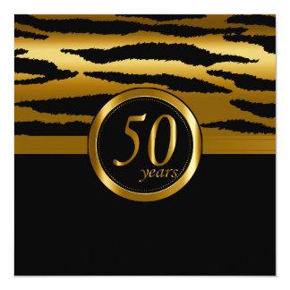 50th teste padrão feliz da zebra dos anos   do convite quadrado 13.35 x 13.35cm