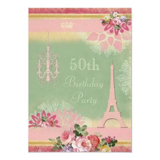 50th Torre Eiffel e candelabro cor-de-rosa do Convite 12.7 X 17.78cm