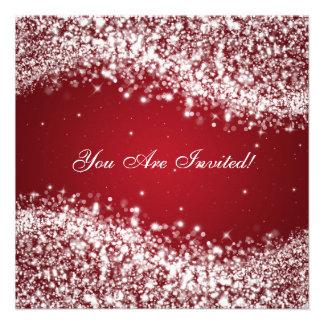 50th Vermelho Sparkling da onda do aniversário de Convite Personalizado