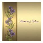 50th Violetas douradas do roxo do aniversário Convites Personalizado