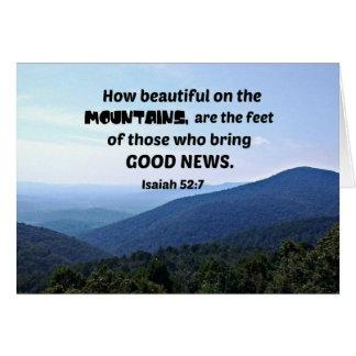 52:7 de Isaiah como bonito nas montanhas seja Cartão Comemorativo