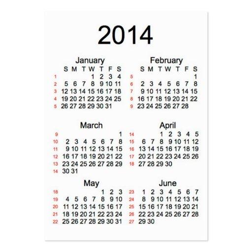 52 cartões de visitas do calendário 2014 da semana