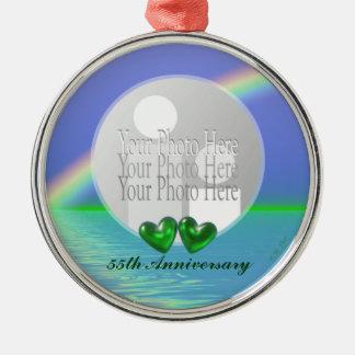 55th Corações esmeraldas do aniversário (quadro da Ornamento Redondo Cor Prata