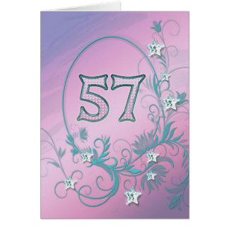 57th Cartão de aniversário com estrelas do