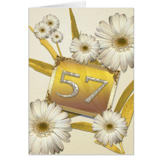 57th Cartão de aniversário com margaridas