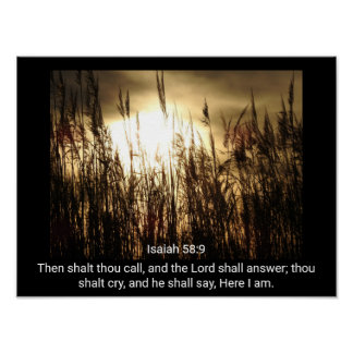 58:9 de Isaiah - aqui eu estou - impressão da arte