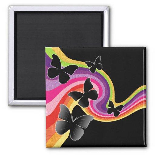 5 borboletas pretas no arco-íris de Swirly Imãs