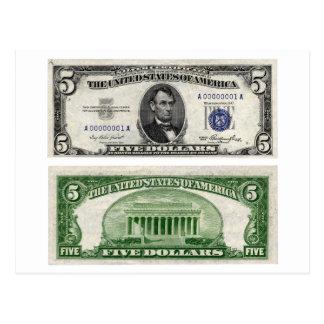 $5 cédula, certificado de prata, série de 1953 cartão postal