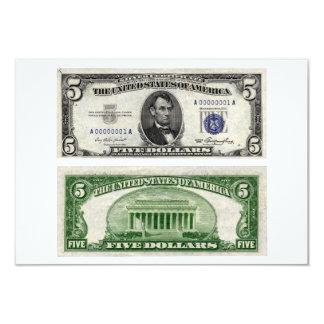 $5 cédula, certificado de prata, série de 1953 convite