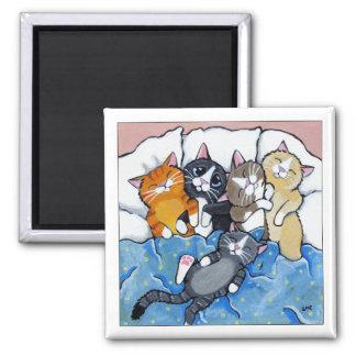 5 gatinhos sonolentos - ímã da arte do gato ímã quadrado