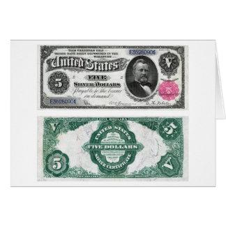 $5 séries 1891 do certificado de prata da cédula cartão comemorativo