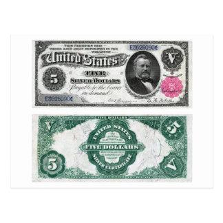 $5 séries 1891 do certificado de prata da cédula cartões postais