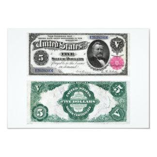 $5 séries 1891 do certificado de prata da cédula convites personalizado