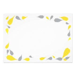 5 x 7 amarelo cinzas deixam o cartão vazio convites personalizado