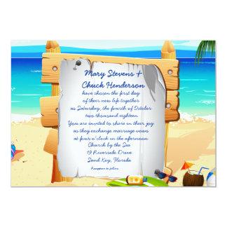 "5"" x 7"" convite do casamento do conselho da praia"