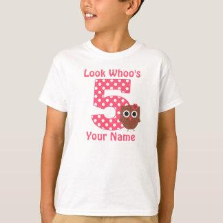 5o Camisa personalizada coruja do aniversário