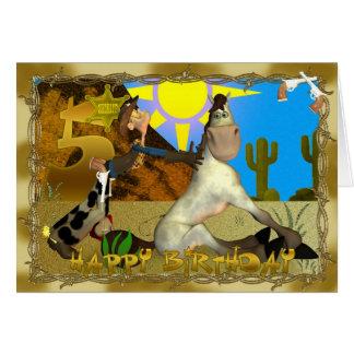 5o cartão feliz do vaqueiro do aniversário