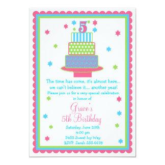 5o Convite de festas do bolo de aniversário