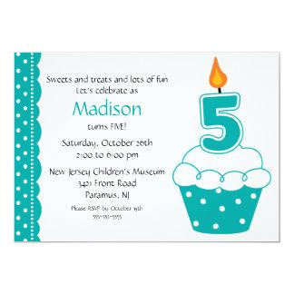 5o Convite do cupcake do aniversário