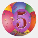 5o Decorações do balão da festa de aniversário Adesivo
